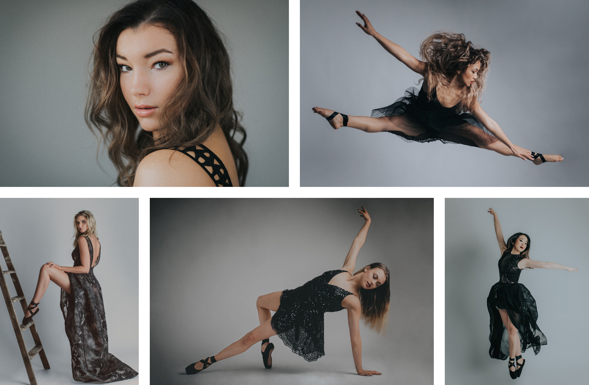 best dance photography in melbourne - Souri creates stunning photographs in the series ballerina en noir in Melbourne. Studio Dance Photography with a creative touch - black dresses.