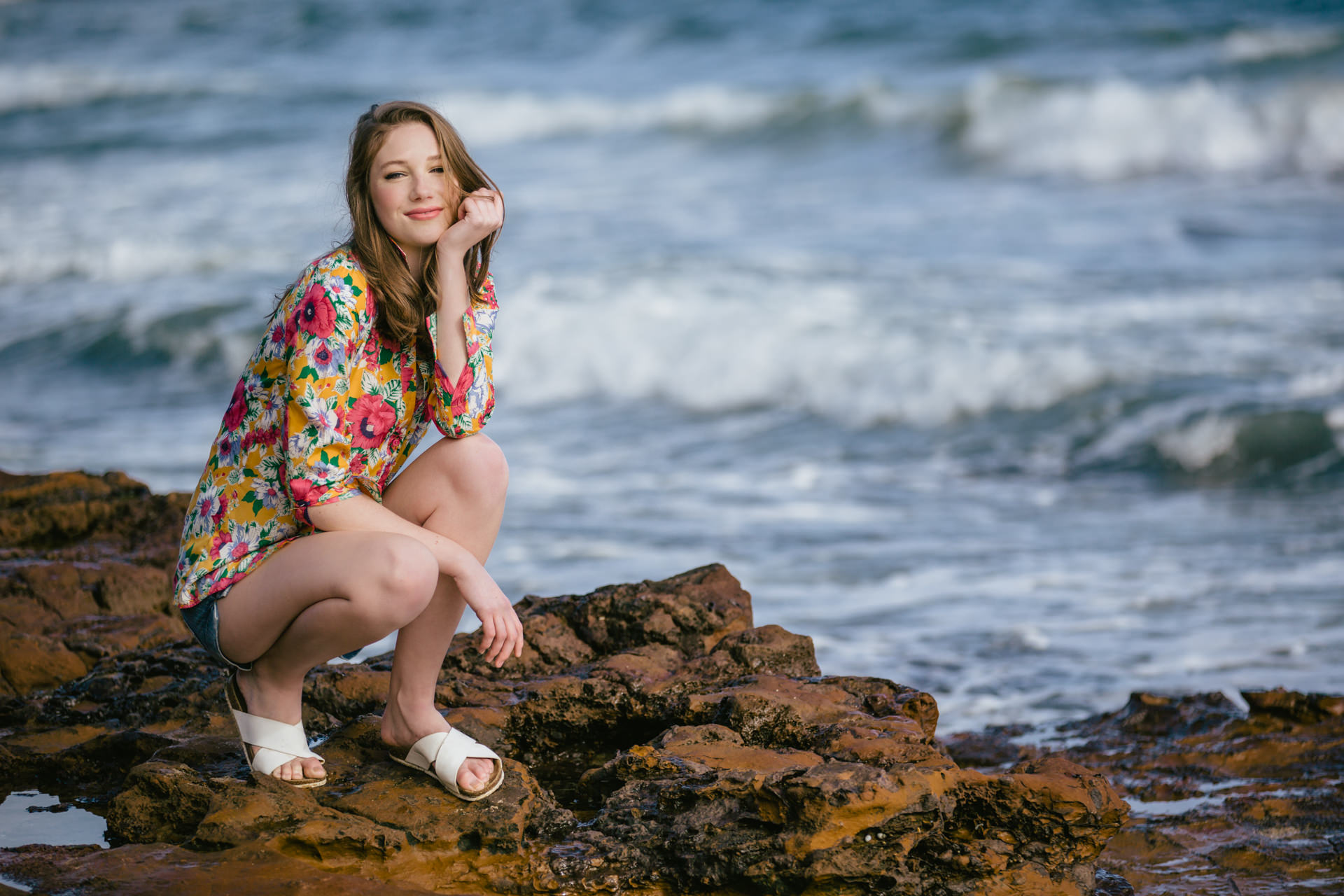 casual beach fashion photo with pretty model in melbourne