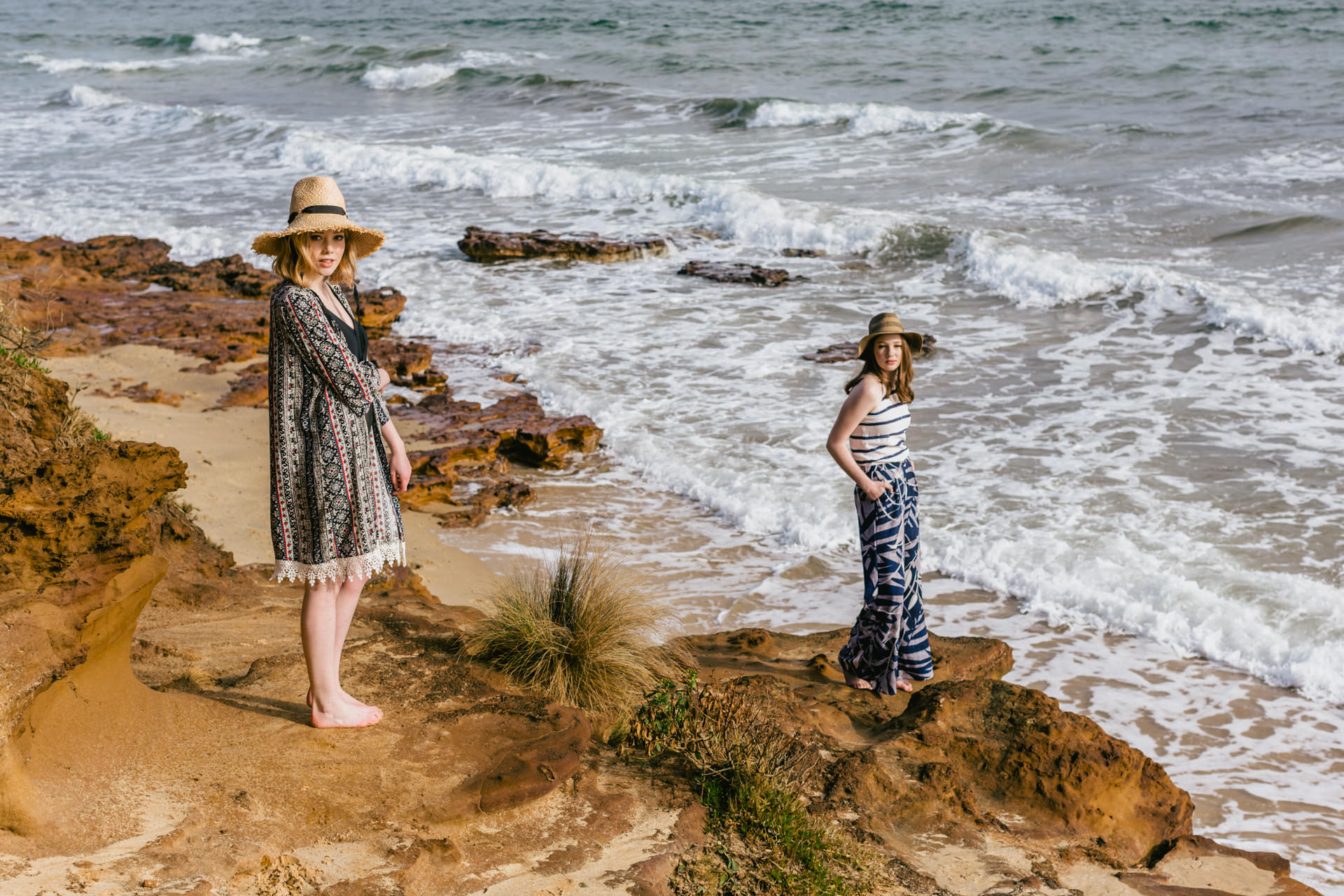 model on rocks at beach in melbourne - advertising campaign photos by melbourne photographer