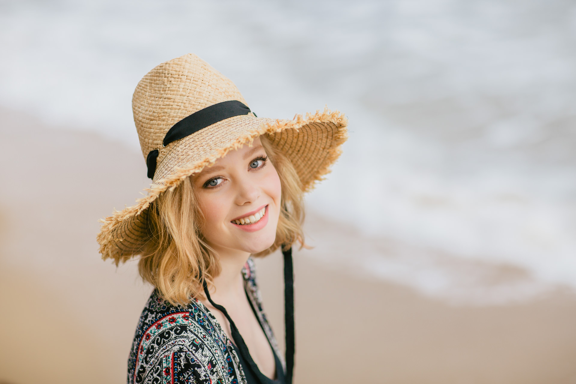 girl with beach hat - summer campaign photoshoot in melbourne