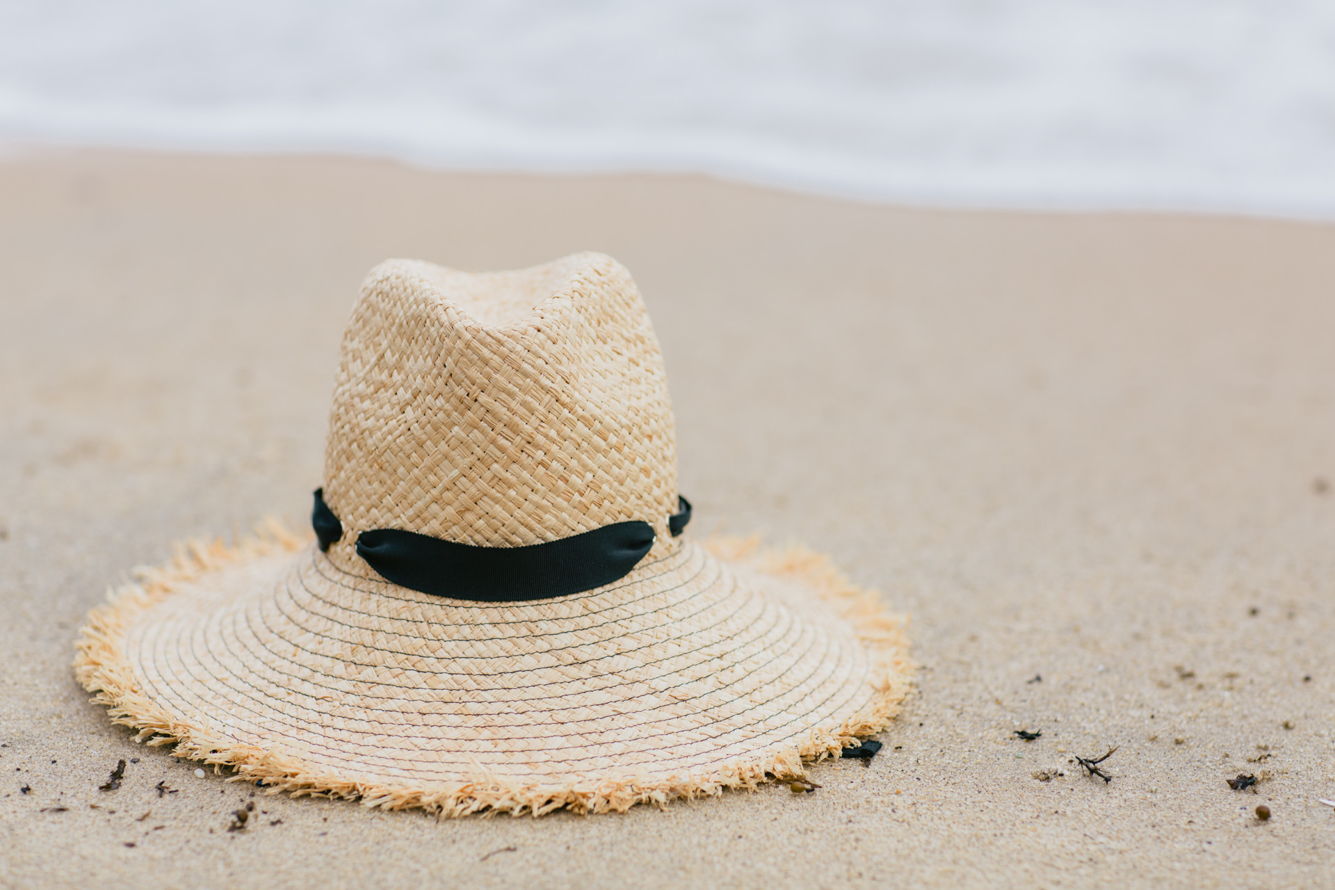 beach hat on sand