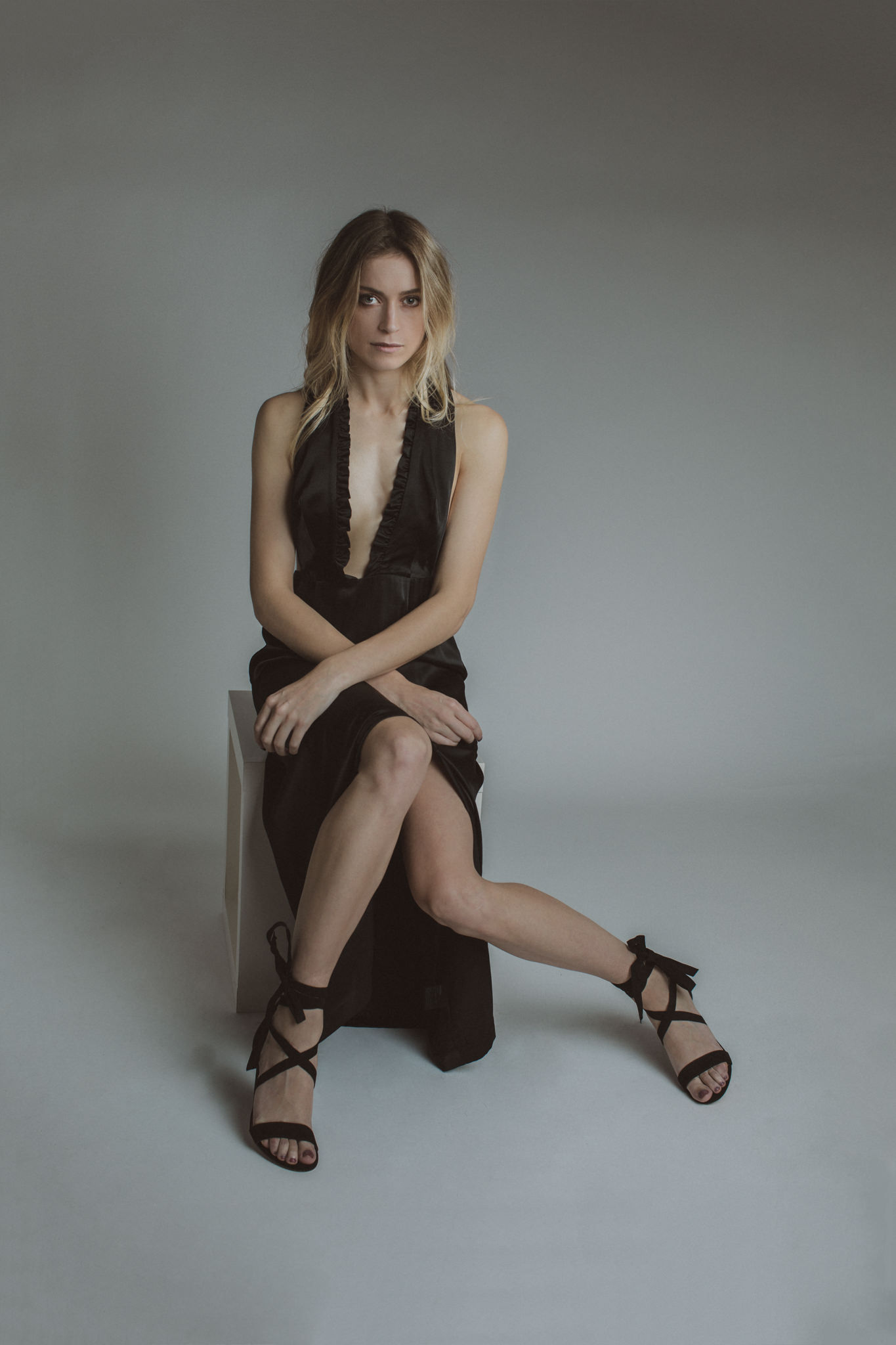 Beauty and Fashion Photographer - black H&M dress with strappy heels