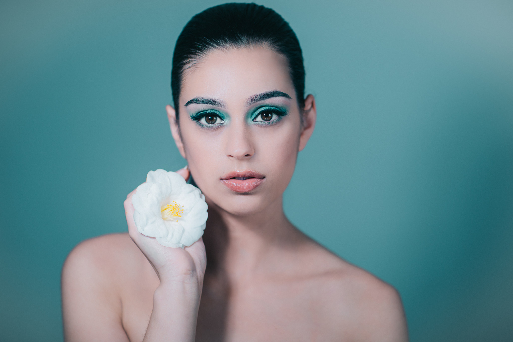 blue model with flower - beauty photographer from Melbourne, Australia